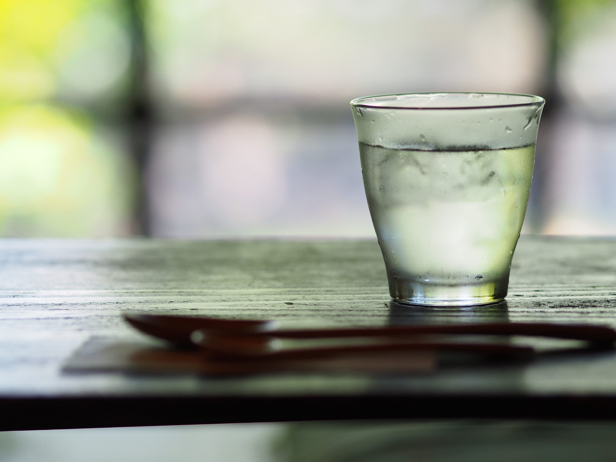 Chilled glass of water on a table