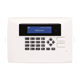 A Care Alert control panel in a white circle
